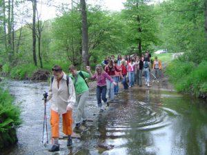 Ludzie przechodzący przez rzekę, w tle las